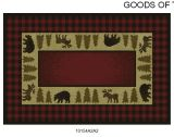 Gow 11052 Vista Bear and Moose Red Plaid Rug