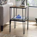 Urban Industrial Mesh Metal Shelf Hairpin Leg Side Table - Rustic Oak