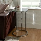 Walker Edison Modern Round End Table - Glass/Chrome