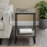 Walker Edison Industrial Metal Accent Side Table - Grey Wash