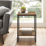 Walker Edison Industrial Metal Accent Side Table - Reclaimed Barnwood