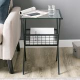 Walker Edison Modern Metal and Glass Side Table w/Magazine Holder