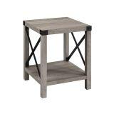 Walker Edison AF18MXSTGW Rustic Wood Side Table - Grey Wash