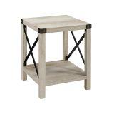 Walker Edison AF18MXSTWO Rustic Wood Side Table - White Oak