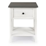 Walker Edison 1 Drawer Wood Side Table - Grey/White Wash