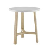 Mid Century Modern Round Side Table - Faux White Marble/Light Oak