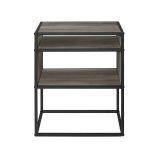 Walker Edison AF20JERGW Industrial Side Table - Grey Wash