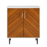 Walker Edison 28'' Modern Bookmatch Accent Cabinet - Solid White