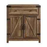 Walker Edison Farmhouse Barn Door Accent Cabinet - Reclaimed Barnwood