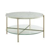 Walker Edison Round Coffee Table - Faux White Marble/Glass/Gold