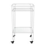 Walker Edison AF35LOHPWH 20'' Industrial Bar Serving Cart - White