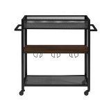 Walker Edison 36'' Industrial Modern Bar Serving Cart - Dark Walnut