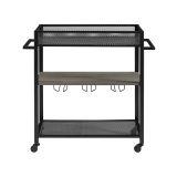 Walker Edison 36'' Industrial Modern Bar Serving Cart - Grey Wash