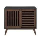 Mid Century Modern TV Stand Storage Cabinet - Black/Dark Walnut