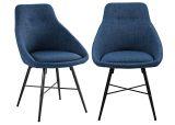 Walker Edison Mid Century Powder-Coated Metal Dining Chair - Blue