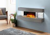 Evolution Fires Miami Curve Fire Pit Electric Fireplace - Carrara Grey