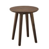 Walker Edison 20'' Acacia Wood Outdoor Round Side Table - Dark Brown