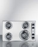 Summit ZEL05 30'' Wide 230V 4-Burner Coil Cooktop - Chrome