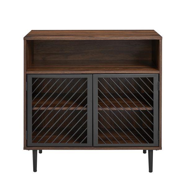 Walker Edison Modern Metal Door Accent Cabinet - Dark Walnut