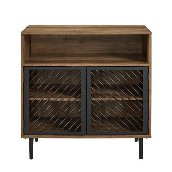 Walker Edison Modern Metal Door Accent Cabinet - Reclaimed Barnwood