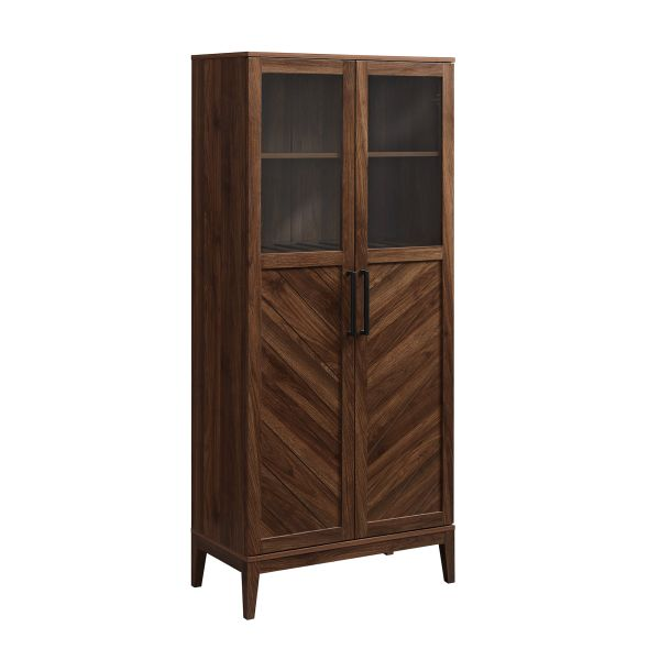 Walker Edison BS68LOGBCDW 68'' Chevron Storage Cabinet - Dark Walnut