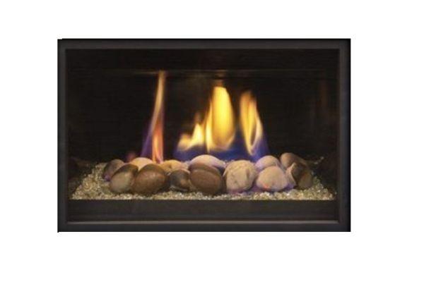Real Fyre iSeries Contemp. Creekstones Strip Fireplace Media - Greige