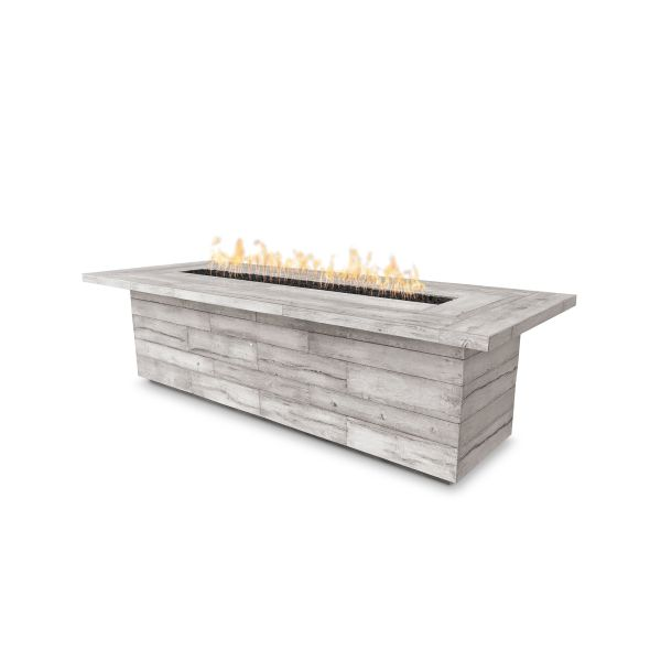 120'' Laguna Electronic Ignition Wood Grain Fire Pit in Ivory - NG