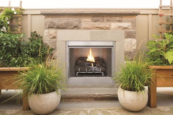 """VRE4236WH 36"""" Vent Free In/Outdoor Gas Firebox w/Herringbone - White"""