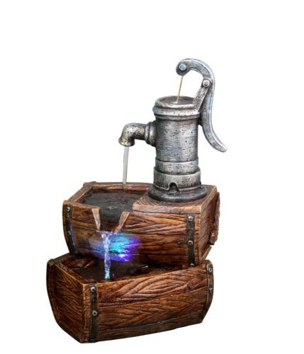 Alpine Two Tier Barrel Fountain with White LED Lights at Sears.com