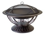 Wood Burning Firepit with Scroll Design - 30 inch