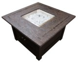 Square Mocha Finish Faux Stone Firepit