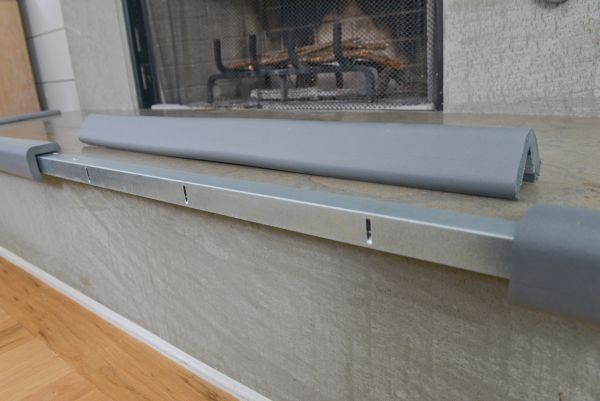 "Metal Backed 24"" Hearth Guard Mid Extension, Gray"