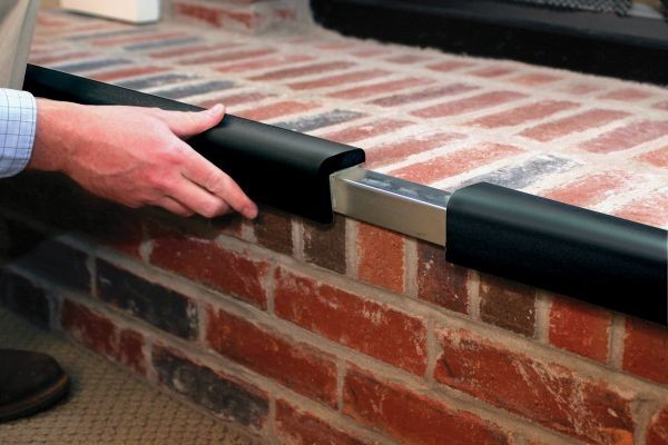 "Metal Backed Hearth Guard for Standard 3-Sided Hearth, 45""-78"", Black"