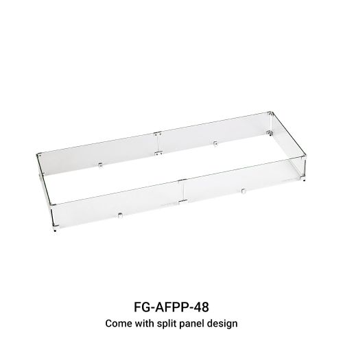 """AFG Tempered Glass Flame Guard for 48"""" x 14"""" Drop-In Fire Pit Pan"""