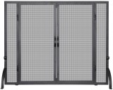 Single Panel Black Wrought Iron Screen W/ Doors, Medium