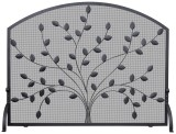 Single Panel Black Wrought Iron Screen With Leaves