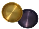 """14"""" Purple and Gold Anodized Aluminum Serving Trays - Set of 4"""