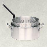10 Qt. El Salvador Handcrafted Aluminum Fry Pot with Basket