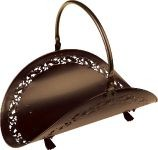 Bronze Filigree Body Wood Basket - 21 inch