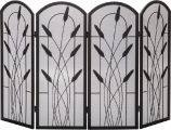 Black 4 Fold Arched Panel Screen with Cotton Tail Design - 30 inch