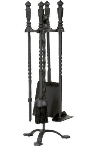 Black 5 Piece Wrought Iron Stove Fireset - 21.75 inch