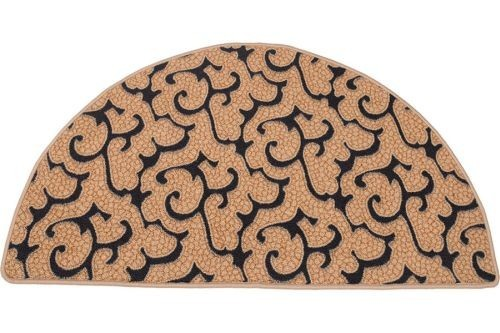 HR201 Beige/Black Half Round Hearth Rug - 43 inch
