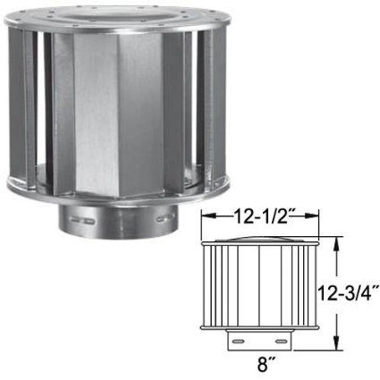 Aluminum High-Wind Chimney Cap - 8 inch