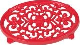 "9"" X 6 1/2"" Oval Trivet In Red Enamel Finish"