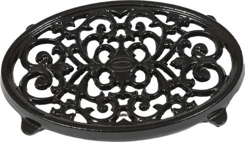 "9"" X 6 1/2"" Oval Trivet In Black Enamel Finish"
