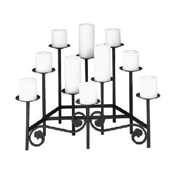 Ten Spear Hearth Candelabra in Black