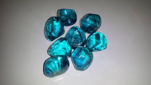 """3 Pound Octagon Container 1"""" Aqua Glass Diamonds"""