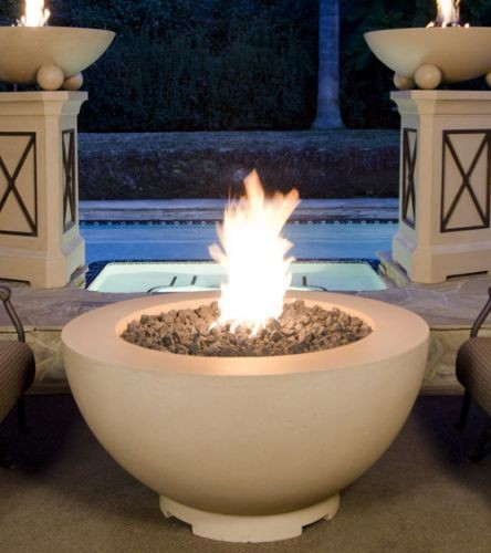 """48"""" Fire Bowl in Black Lava Finish with AWEIS System - Liquid Propane"""