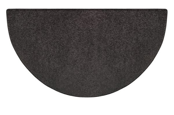 Flame Polyester Half Round Rug - Black