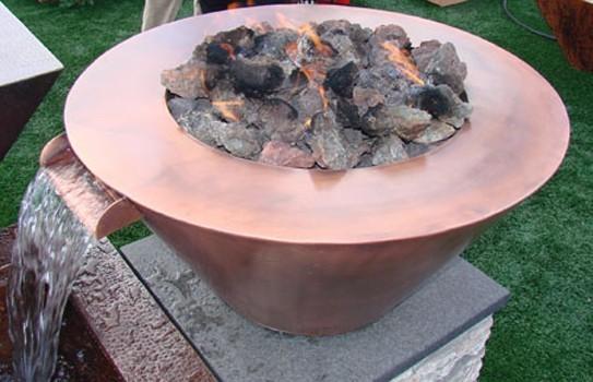 HPC 32 Inch Diameter Mesa Copper Bowl Fire Pit Match Lit - Natural Gas
